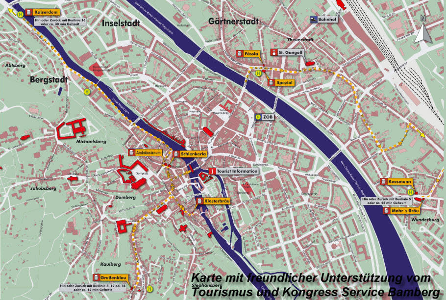 Karte Bamberg.Brauereien In Bamberg Ubersichtskarte